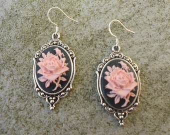 Gorgeous Pink Rose (on a black background) Cameo Earrings!!! .925 Hooks!!!  Quality!!!