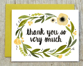 Yellow Flower Thank You Card, Watercolor Floral Card by Little Truths Studio