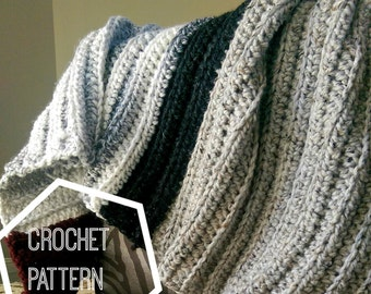 Chunky Crochet Blanket Pattern, Beginner Crochet Pattern, Chunky Ribbed Crochet Throw Pattern, Crochet Afghan Pattern, Chunky Throw Pattern