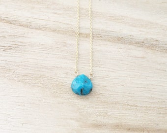 Turquoise necklace, turquoise briolette necklace, turquoise pendant, necklace, turquoise beads, turquoise solitaire necklace, necklace