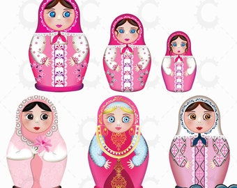 Russian Dolls, Matryoshka Dolls, Babushka Dolls in Pink - Vector Clipart Collection
