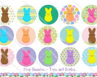 Bunnies Easter Candy 1 Inch Circles Collage Sheet for Bottle Caps, Hair Bows, Scrapbooks, Crafts, Jewelry & More