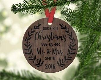 Wedding Christmas Ornament First Christmas Ornament as Mr and Mrs Personalized Wedding Ornament Personalized Christmas Gift for Couple Year