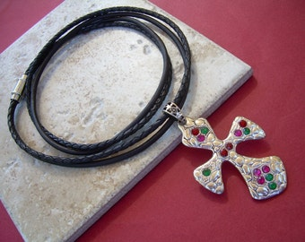 Womens Cross Necklace, Cross Pendant , Leather Necklace, Christmas Jewelry, Cross Necklace,Womens Jewelry, Womens Necklace