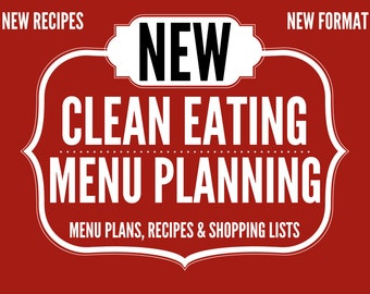 One Month of Regular Clean Eating Menu Plans with Recipes, Shopping Lists, Nutrition Info & Support.