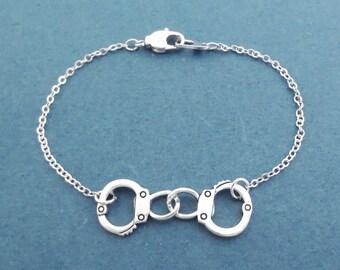 Handcuffs, Silver, Bracelet, Modern, Dainty, Jewelry, Birthday, Lovers, Best friends, Valentine, Gift, Jewelry