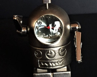Vintage Silver Diecast Robot with Clock face and Moveable Posable Clip Arms