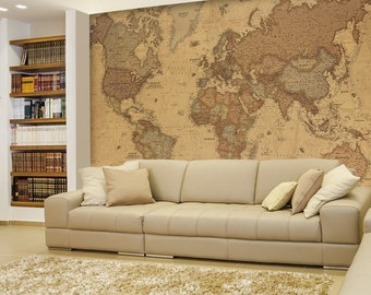 Political world map etsy antique monochrome vintage political world map wall mural 100x144 inches gumiabroncs Image collections