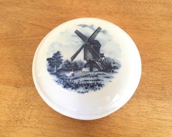 Dutch Windmill Trinket Box - Jewelry Box - Trinket Dish - Lidded Dish - Dutch Scene