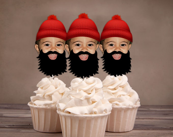 Photo Cupcake Toppers, Lumberjack birthday, Buffalo Plaid, Woodland theme, Lumberjack, Rustic, camping, lumberjack bash