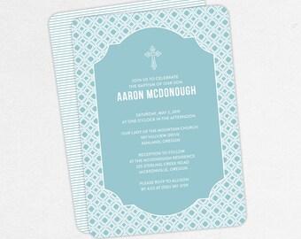 Boy Baptism Invitation, Christening Invitation, Printable Baptism Invitation, Invitation PDF, DIY Invitation, Classic, Modern, Blue, Aaron