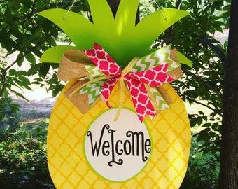 Yellow Pineapple Door Hanger