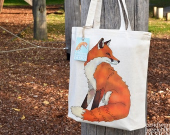 Fox Tote Bag, Ethically Produced Reusable Shopper Bag, Cotton Tote, Shopping Bag, Tote Bag, Reusable Grocery Bag, Stocking Filler, Fox Gift