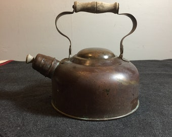 Solid Copper Odi Tea Kettle - Portugal - Kettle with Whistler - Antique Copper Tea Kettle