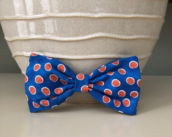 XL Dog Bow - Bow Tie / Bright Blue w Orange Polka Dots