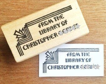 Art deco ex libris stamp, art deco bookplate stamp, from the library stamp, personalized stamp, book lover gift, art deco stamp