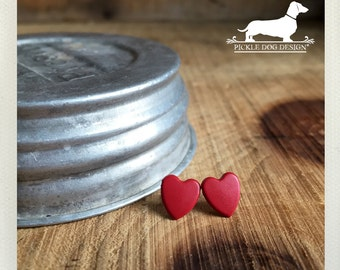 DOLLAR DEAL! I Heart You. Red Heart Post Earrings -- (Cute, Love, Romantic, Heart Studs, Small, Tiny, Bridesmaid Jewelry, Gift Under 10)