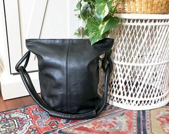 Vintage übergroße Ledertasche schwarz Leder-Eimer Tasche Boho Tasche