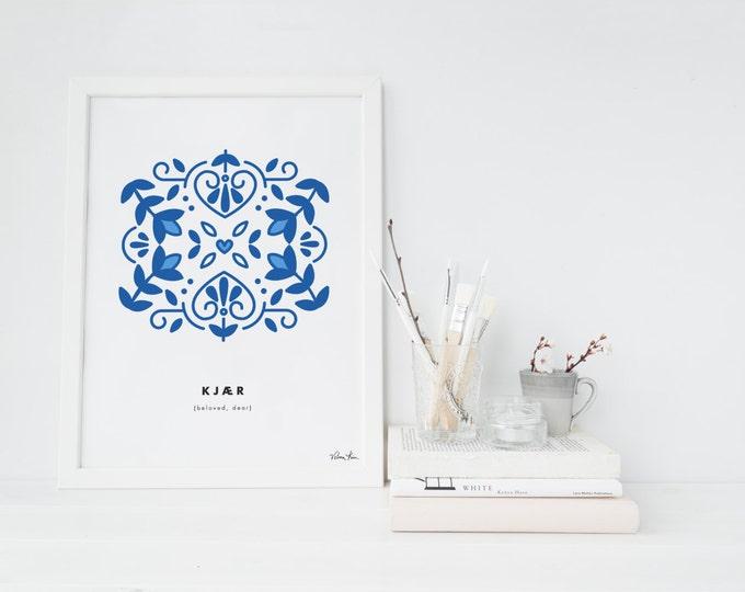 Nordic, Beloved, Scandinavian print, Modern art, Digital print, Wall art, Printable wall art, printable art, Norwegian