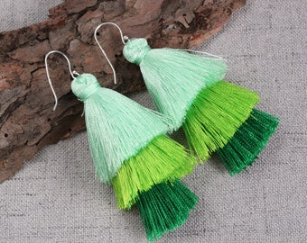 Three Layered Green Tassel Earrings With Sterling Silver Ear Wires Dangle Earrings Long Statement Earrings