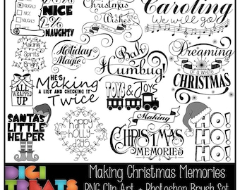 50% OFF Making Christmas Memories Word Art + Photoshop Brushes, Christmas Word Overlays, Scrapbooking embellishment, Card Making,