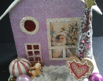Handmade lilac and gold putz/glitter house with peeking Santa