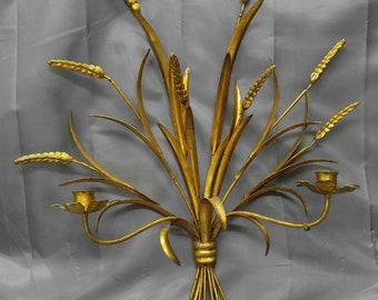 Old vintage Italian gold gilt wrought iron candle wall sconce wheat Italy