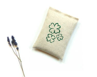 Irish shamrocks, lavender sachet bag, 4 leaf clover, scented sachet, drawer freshener, gift for mom, linen sachet