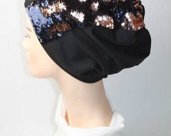 MIRIAM hat with volumizing effect, with magic sequins decoration