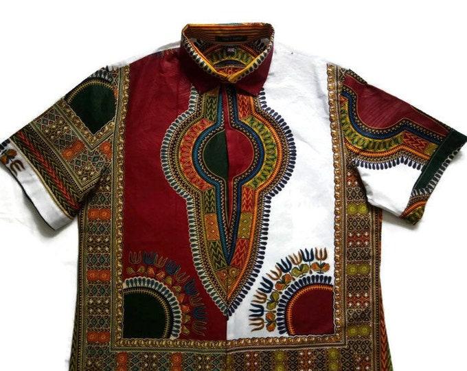Plus Size XXL Burgundy And White Mix African Dashiki  Shirt For Men