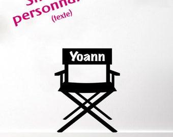"Sticker wall customizable ""cinema Chair"" - customizable text (name) (custom sticker)"
