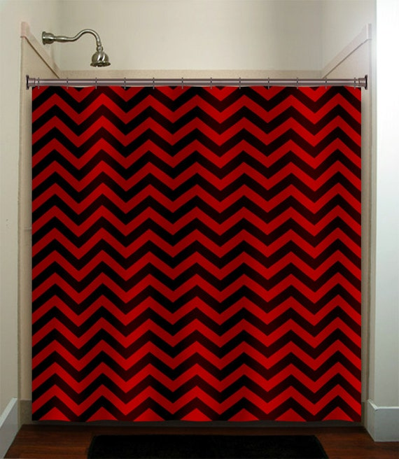 Delightful Classic Black Red Chevron Shower Curtain Extra Long Fabric