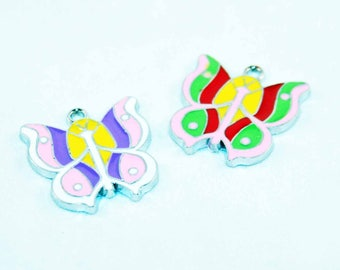 HEV42 - 2 Butterfly charms pendants 25mm X 25 mm mixed color enamel