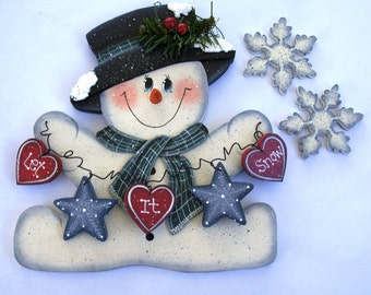 "Jan Snowman and Snowflakes for ""Monthly Interchangeable Welcome Sign""  - Wood Door or Wall Sign Hanging"