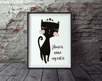 "Poster cat, cat posters, ""Home is where my cat is"" DIN A3"