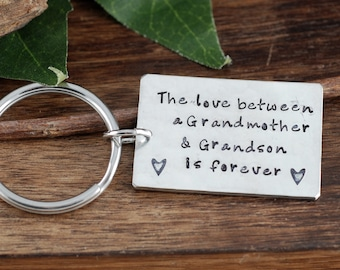 Grandmother Keychain, from Grandson, Mother's Day Keychain, Gift for Grandma, Grandma Keychains, Gift for Grandson, Personalized Keychain
