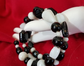Black and White Czech Crystals Bracelet