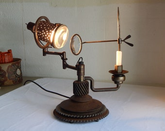 Amazing** Antique Steampunk Swing Arm Magnifying Glass Nautical Lamp w/ Candle Industrial Machine Age Light