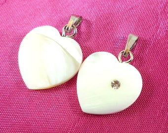 1 Pearl Heart pendant and rhinestone 24X15mm (pn1)