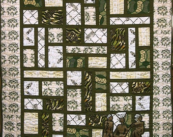 Patchwork Quilt - green, white and gold West African County Lines