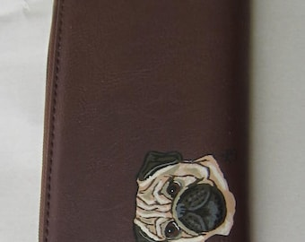 PUG FAWN Handpainted Brown Faux Leather Full Size Ladies Wallet/Coin....Nicely Painted