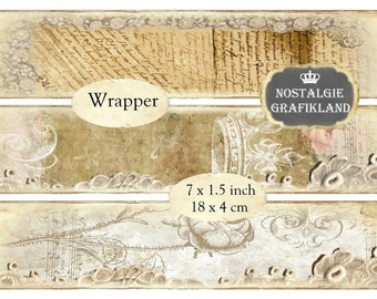 Vintage Lace Sewing Wrapper Instant Download digital collage sheet E074 wrapping tulle sew ephemera