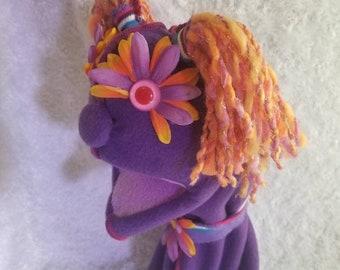 Stripes the Puppet! Purple orange flower eyes