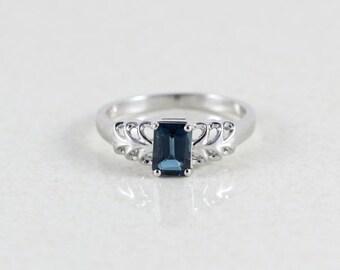 10k White Gold London Blue Topaz Ring Size 8 1/4