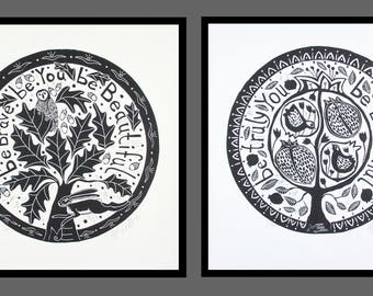 set of 2, linocut, black and white, tree, pomegranate tree, oak tree, hare, owl, birds, fruit, printmaking, round prints, typography