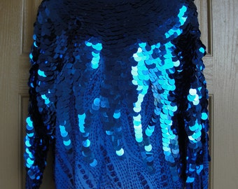 Vintage sequined blue blouse size L Large sequined shirt Oleg Cassini 1980s 80s coin size sequins sparkly and fun