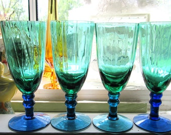 Set of 4 Rare Two-Tone Teal Green and Royal Blue Glass Champagne/Sherry/Wine Glasses - Pristine Condition