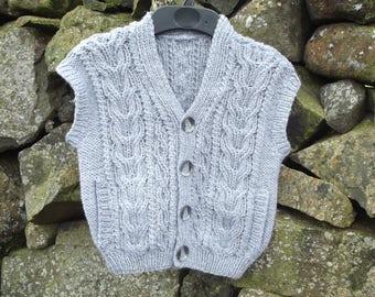 Hand Knit Boys Aran Waistcoat