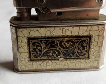 Vintage 1940ish Made in Germany Ibelo Monopol Automatic Two Toned Enameled Lighter