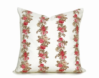 Shabby Chic Pillow Covers, French Country Pillows, Throw Pillows, Pillow Case, Roses Pillow, Cream Pink Pillow, Cottage  Pillows, 20x20